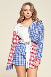 Active Plaid Print 2 Pcs Set, Zip up Cropped Hooded Sweater With Drawstrings Hem