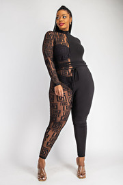 Plus Size Half and Half Jumpsuit with waist Tie.