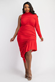 Plus Size One Sleeve Shirred Dress with Ruffle Hem.
