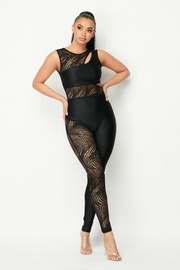Mesh Solid Jumpsuit with Open Back