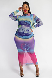 Plus Size Money Printed Fitted Dress.