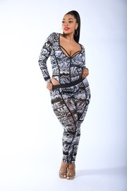 Plus Size Graffiti Mesh Bodysuit Set.
