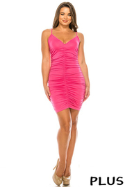 Plus Size Solid Shirring Bodycon Dress.