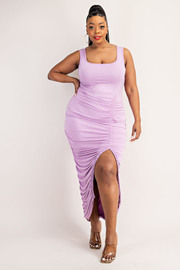 Plus Size Cami Dress with Front Shirred Slit.