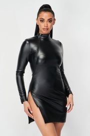 Leather Mini Dress with Slit on side with Zipper.