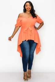 Plus Size Off the shoulder asymmetric Top.