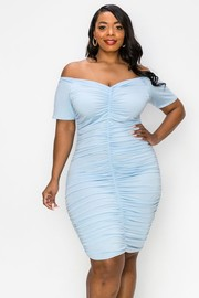 Plus Size Off the shoulder short sleeves, Ruched Front, Side and back bodycon Dress.