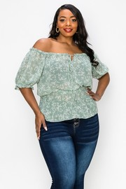 Plus Size Chiffon Print, Off the shoulder, Smocked on Waist Easy Wear Top.