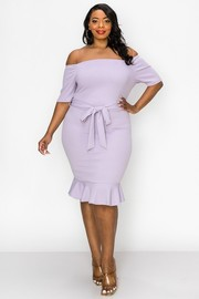 Plus Size Off the shoulder, Short Sleeves, Bottom ruffles Dress.