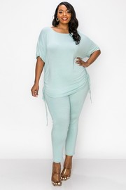 Plus Size Adjustable spaghetti on the side short sleeves top and skinny pants Set.