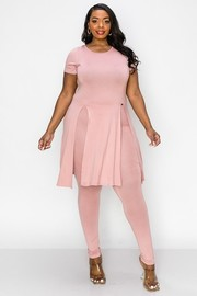 Plus Size Round neck, Car wash slit open bottom tunic top and skinny pants sets.