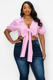Plus Size Stretch poplin fabric, all front bow tie, cute puff short sleeves, crop blouse.