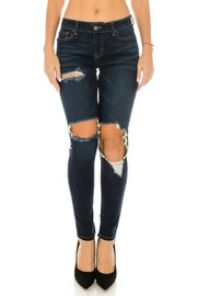 Denim Jean With Big Hold On Knee.