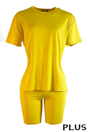 Plus Size Solid Round Neck Solid Short Sleeve Top & Short 2 Pcs Set.
