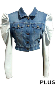 Plus Szie Long Sleeve Denim Jacket.