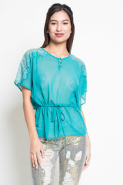 Lace Shoulder Tunic with Tie