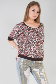 Leopard Print Scoop Neck Chiffon Top