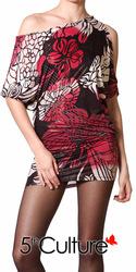 Detailed Shoulder Kimono Floral Print Top