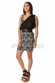 Zebra Chiffon Draped Belt Dress