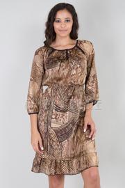 Triple Keyhole Wheat Print Ruffle Dress