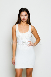 Sequin Rosette Belted Tank Dress