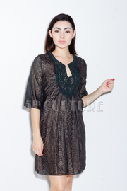 Layered Embroidered Neckline Dress