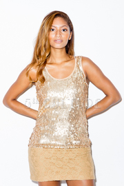 Sequins Dress With Lace Trimming