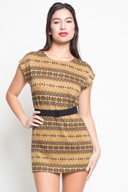 Fair Isle Print Belted Dress