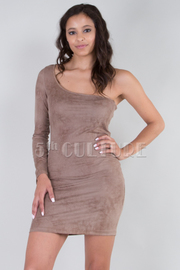 One Sleeve Suede Bodycon Dress