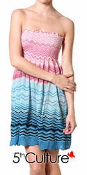 Geometric Strapless Smocked Dress