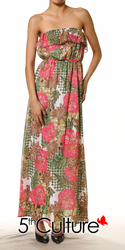 Floral Chiffon Strapless Maxi