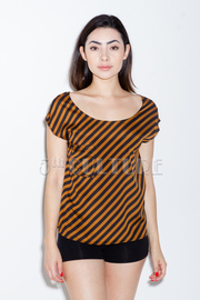 Diagonal Striped SS Top With Featured Back