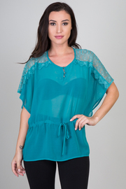 Crochet Chiffon Belted Top