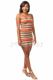 Multi-Colored Crochet Striped Strapless