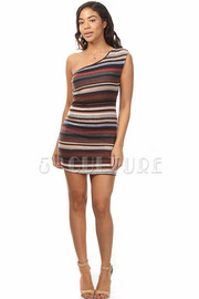 One Shoulder Multi-Stripe Dress