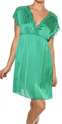 Solid Crochet Detailed SS Dress