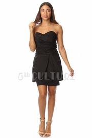 Sweetheart Peplum Corset Pocket Dress