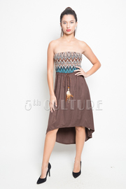 Native Strapless Belted Empire Dress