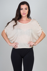Boat Neck Buttoned 1/2 Sleeve Top