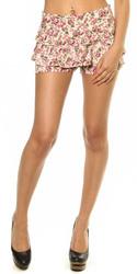 Floral Ruffle Zipper Shorts