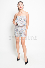 Floral Paisley Ruffle Strapless Romper