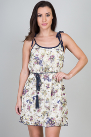 Floral Tassel Belted Dress
