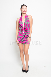 Shattered Print Halter Backless Mini