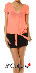 Neon Button Up Chiffon Top