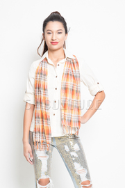 3/4 Button Up Scarf Top