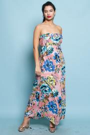 Floral Strapless Ruffle Maxi Dress
