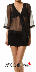 Chiffon Lace Trim Top