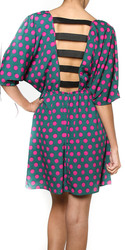 Ladder Back Polka-Dot Flare Dress