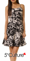 Rose Print Pleated Dress