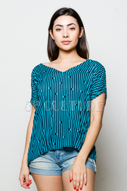 Striped Print V-Neck Top